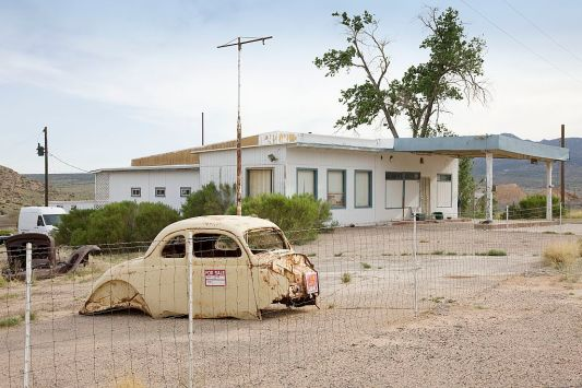 "That's not our car, or the kind of place where we fill-er up.  But we see lots of these examples of what Carol calls ""Disappearing America"" along the road.  They're memorable, too, in their own way.  (Photo: Carol M. Highsmith)"