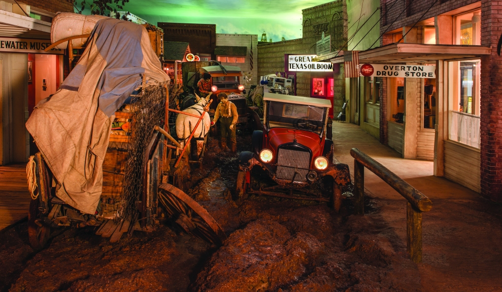 "A depiction at the East Texas Oil Museum, in Kilgore, Texas, of a muddy street in ""Boomtown U.S.A.,"" an amalgam view of Texas during the rush to extract ""black gold"" in the 1930s.  (Photo: Carol M. Highsmith)"